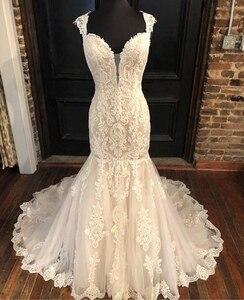 Vintage Mermaid Style Wedding Dress Cap Sleeves Appliques Bridal Gowns Chapel Train White Ivory Bridal Dresses Vestidos De Noiva