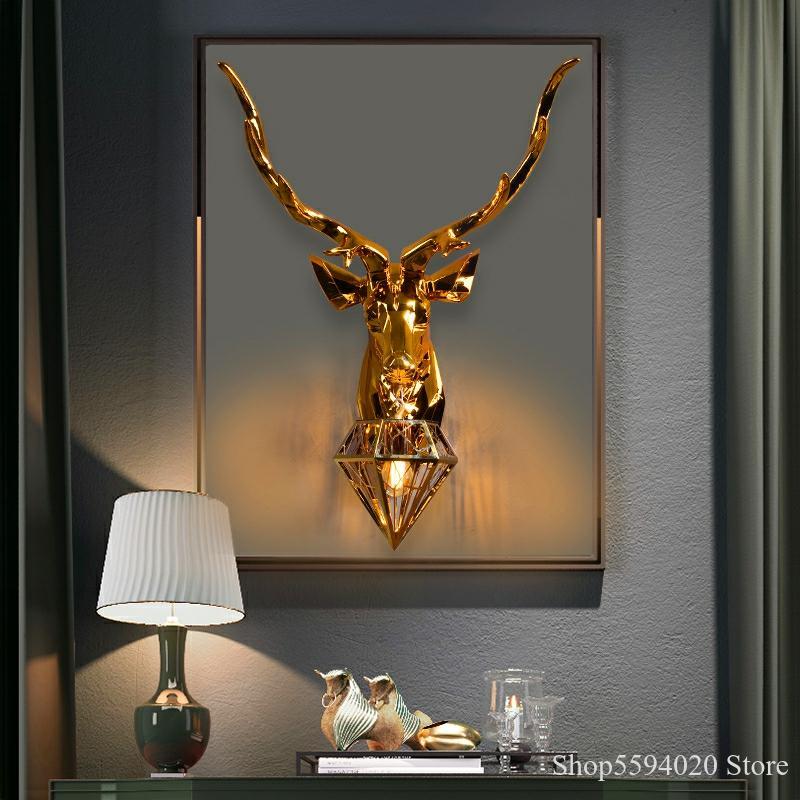 Retro ciervo lámparas De pared LED muro americano lámpara De pared Vintage accesorios De luz la vida Luminaria De Parede lámpara De pared luz AC