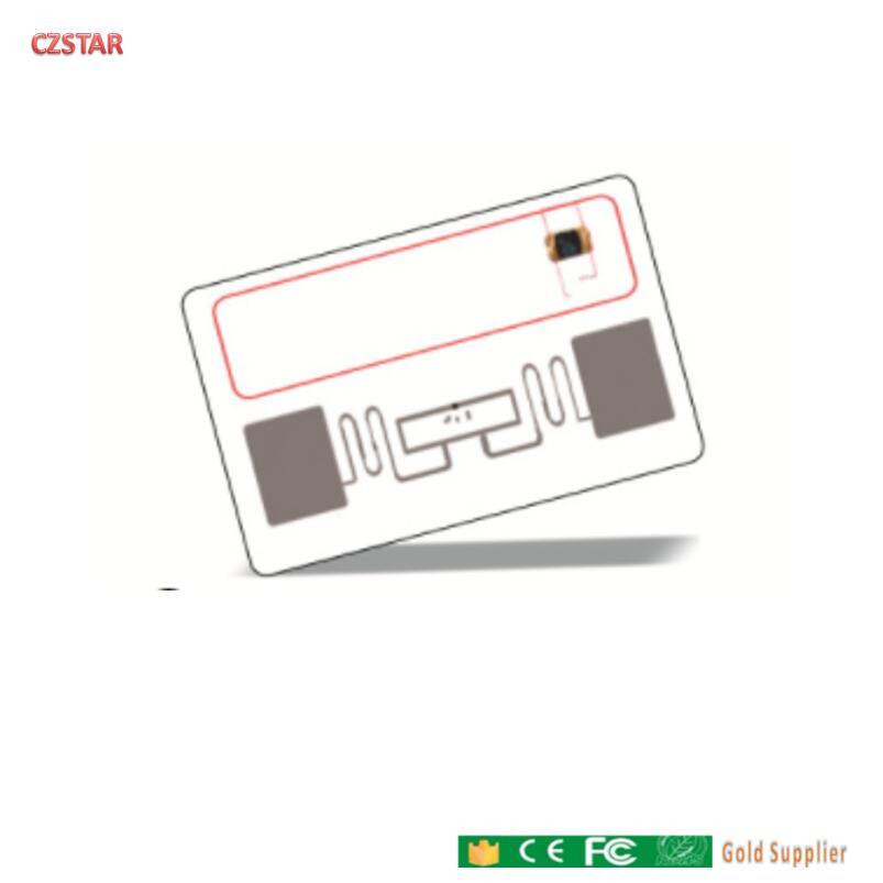 Tarjeta PVC 13,56 mhz 860-960mhz HF + UHF identificación RFID inteligente chip dual FO8 Alien tarjeta híbrida de doble frecuencia