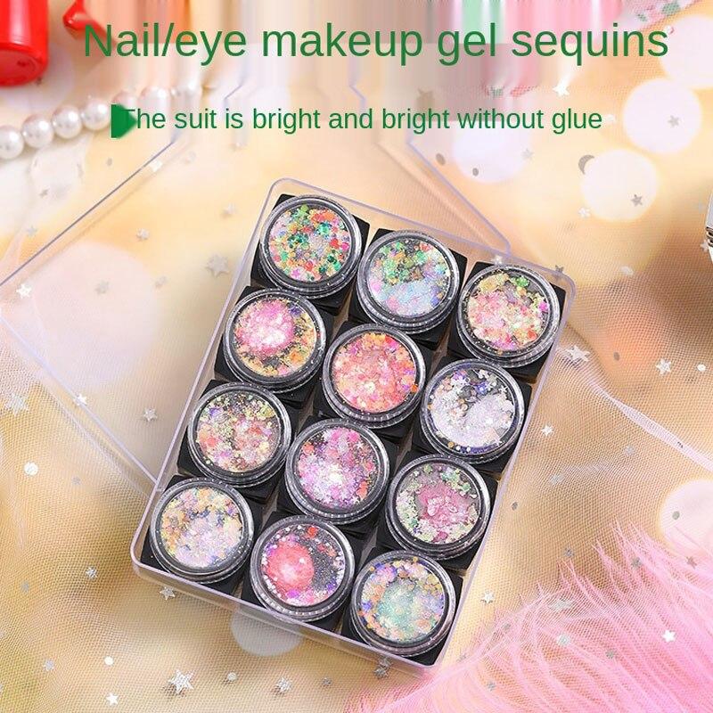 High Quality Eye Makeup Sequins Gel Cream Set Nail Art Sequins Glitter Multifunctional Makeup Patche