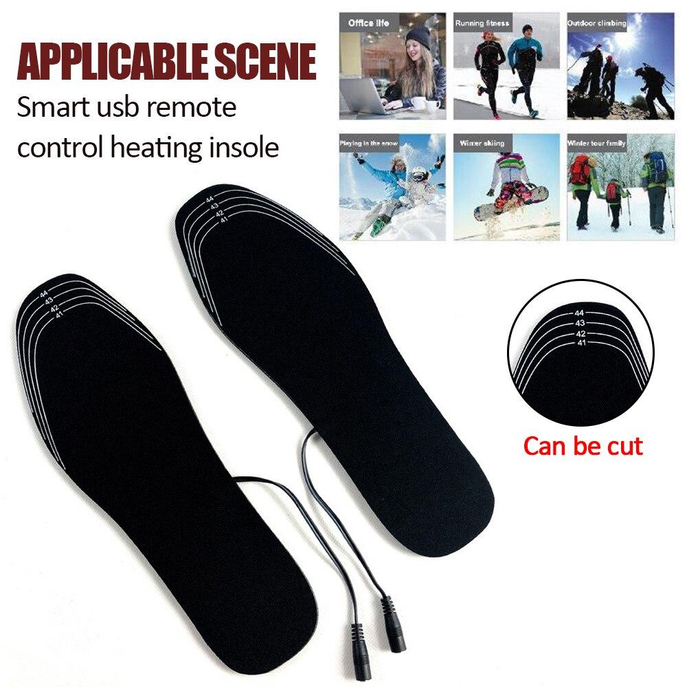 Usb aquecedor de calor palmilhas palmilhas aquecidas elétricas usb quente sapato meias pés aquecedor lavável inverno almofadas fp palmilhas ao ar livre