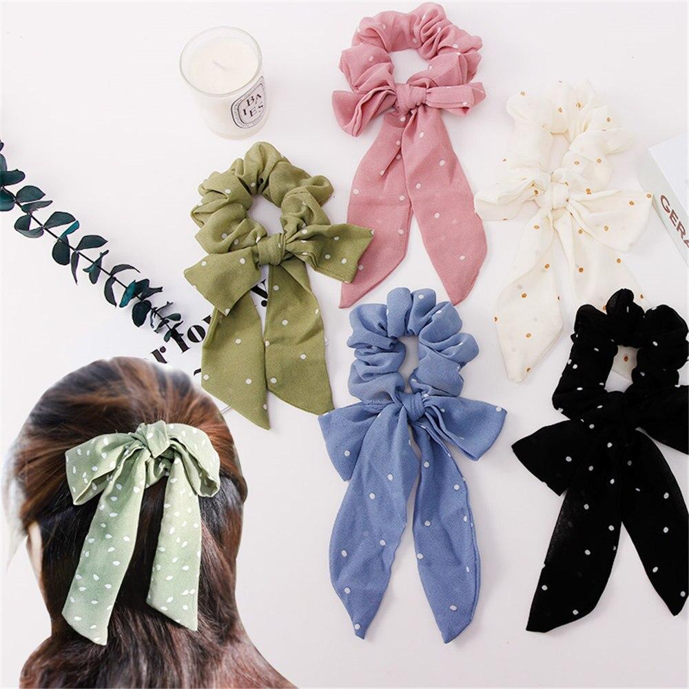 Novas Mulheres Elegante Arco Dot Fita Fios de Cabelo Elásticos Rabo de Cavalo Titular Scrunchie Cabelo Ropes Headband Acessórios de Cabelo Da Moda