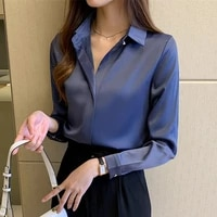 2021 silk shirts women white shirt women long sleeve shirts blouse office lady satin silk blouse tops plus size crop top women