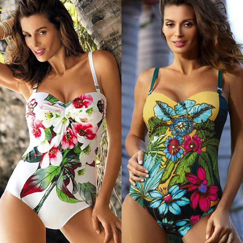 Traje de baño Push Up para mujer, Bikini Floral, traje de baño calado para mujer, traje de baño de talla grande Monokini 2020, trajes de una pieza