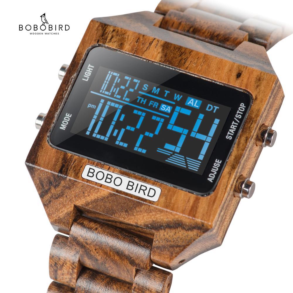 BOBOBIRD الرجال الرقمية الساعات الخشب 4 متغير ألوان متعددة وظيفة الصمام عرض reloj inteligente hombre مع الخشب هدية مربع V-S30