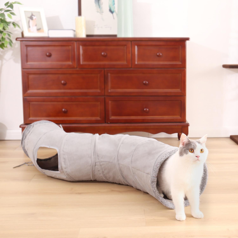 S-образный туннель для питомцев, кошек, 2 отверстия, Забавный котенок, животные, игровой туннель, трубка, складная обучающая игрушка для собак...