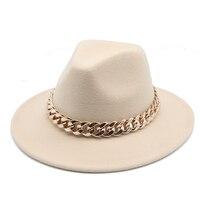 Шляпка-федора для мужчин и женщин, толстая модная фетровая шляпа с широкими полями и золотистой цепочкой, цвет верблюд, белый, на осень/зиму