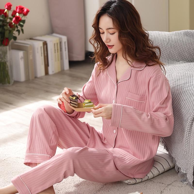 بيجاما شتوية من القطن 100% للنساء ، لون وردي ، ملابس نوم دافئة ، عصرية ، قطن خالص ، PJ 2021