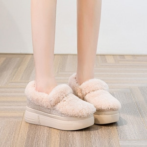 Swyivy Winter Fur Cotton Padded Shoes Women Sneakers Platform Ankle Boots 2020 New Wedges Shoes Casual Female Snow Boots Warm