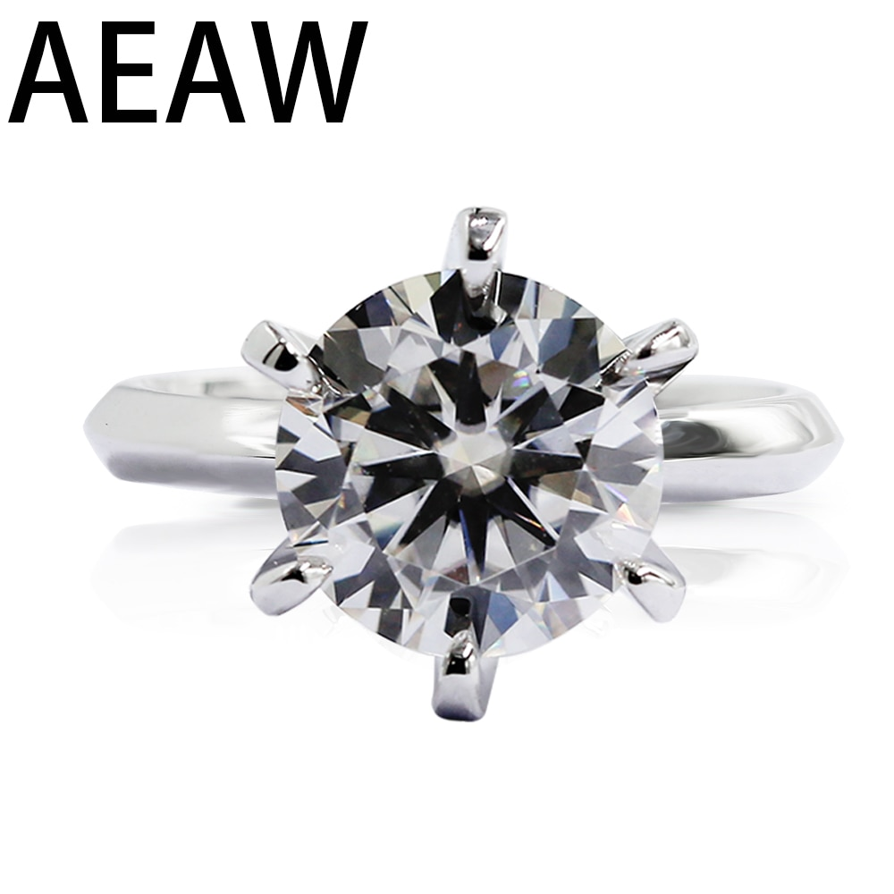 Aeaw 1.0ct 3ct 5ct df redondo 18 k branco banhado a ouro 925 prata moissanite anéis diamante teste passado jóias mulher namorada presente