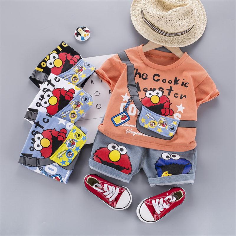 Summer Children Out Clothes Baby Boy cartoon O-Neck T Shirt denim Shorts 2Pcs/sets Infant Outfit Kids Fashion Toddler Tracksuit