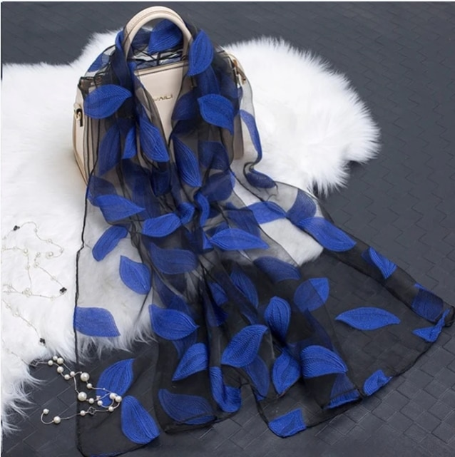 YLWHJJ  hot sale silk scarf womens summer breeze lightweight sheer wrap and shawls bandana beach organza gauze lace hollow scarf