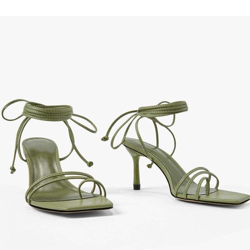 أحذية نسائية صيفية جديدة موديل 2020 ذات رباط كاحل عالٍ وحزام للأصابع بكعب عالي وصنادل أنيقة مثيرة للحفلات