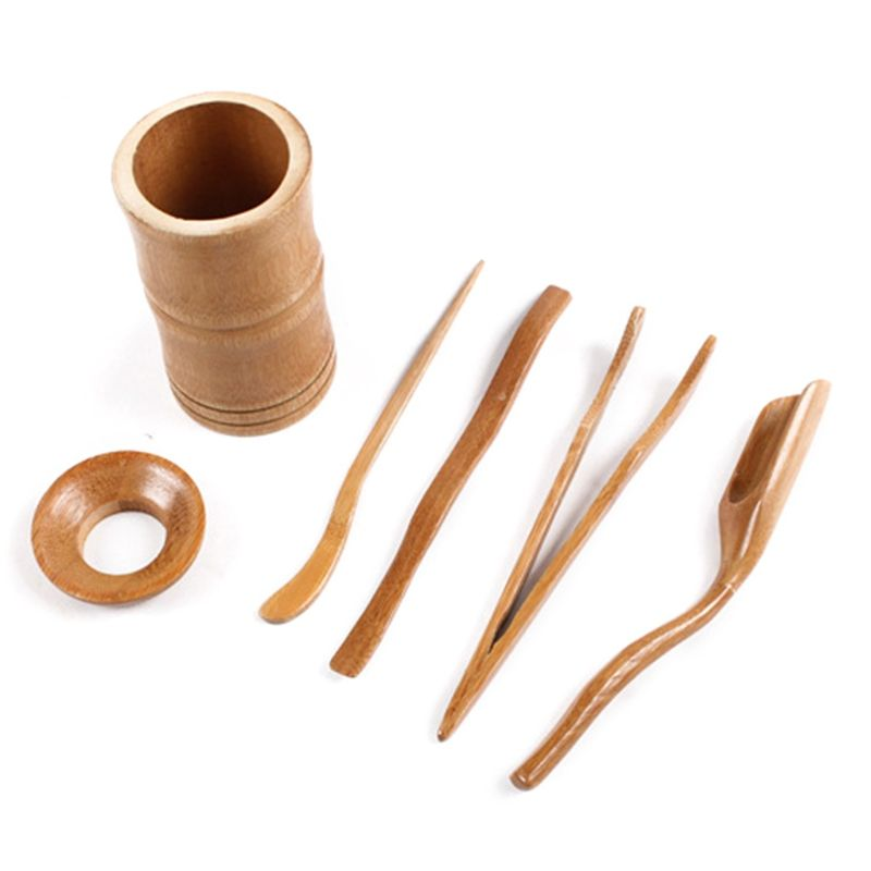 Juego de 6 Uds de utensilios para la ceremonia del té, cucharas de bambú, Clip de aguja, colador Tong Tube #0622