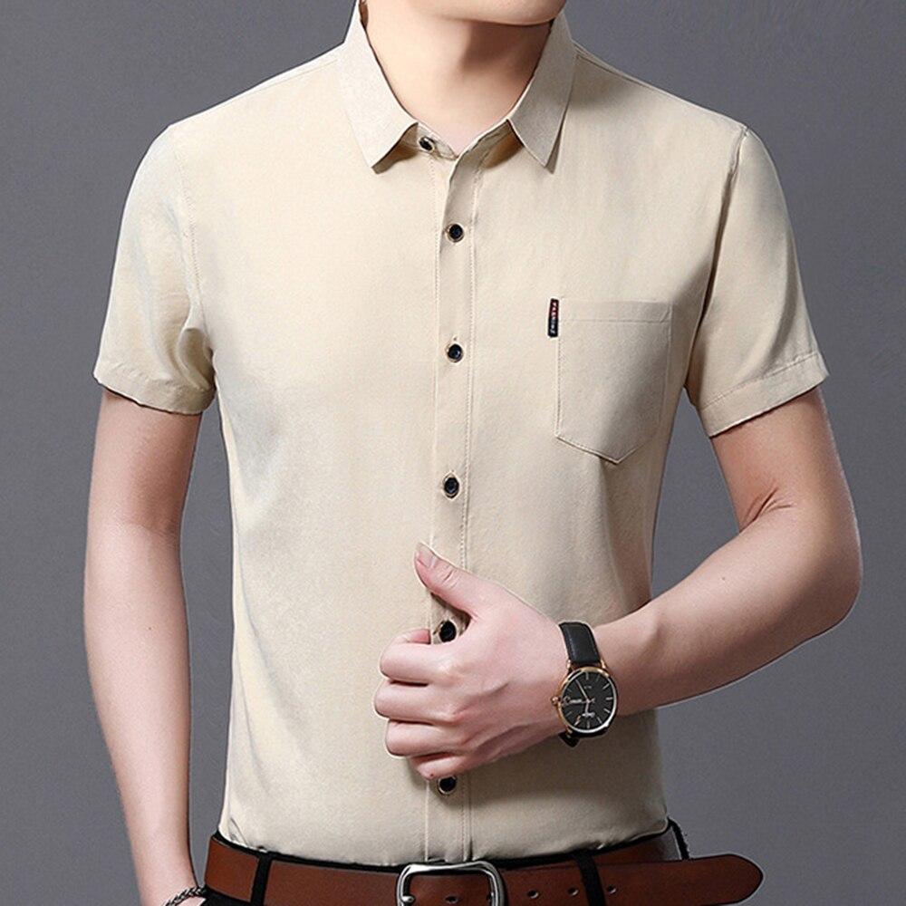 Мужская рубашка, деловая однотонная белая мужская летняя рубашка, гладкая Повседневная приталенная Мужская рубашка с коротким рукавом и ка...