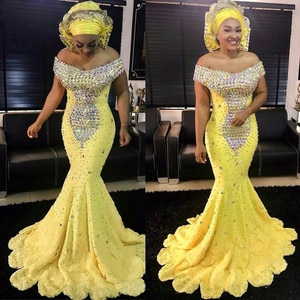 Aso Ebi Yellow Crystal Prom Dresses Gonna Long Mermaid Evening Gowns African Formal Party Dress Plus Size Lace Up Vestido Longo
