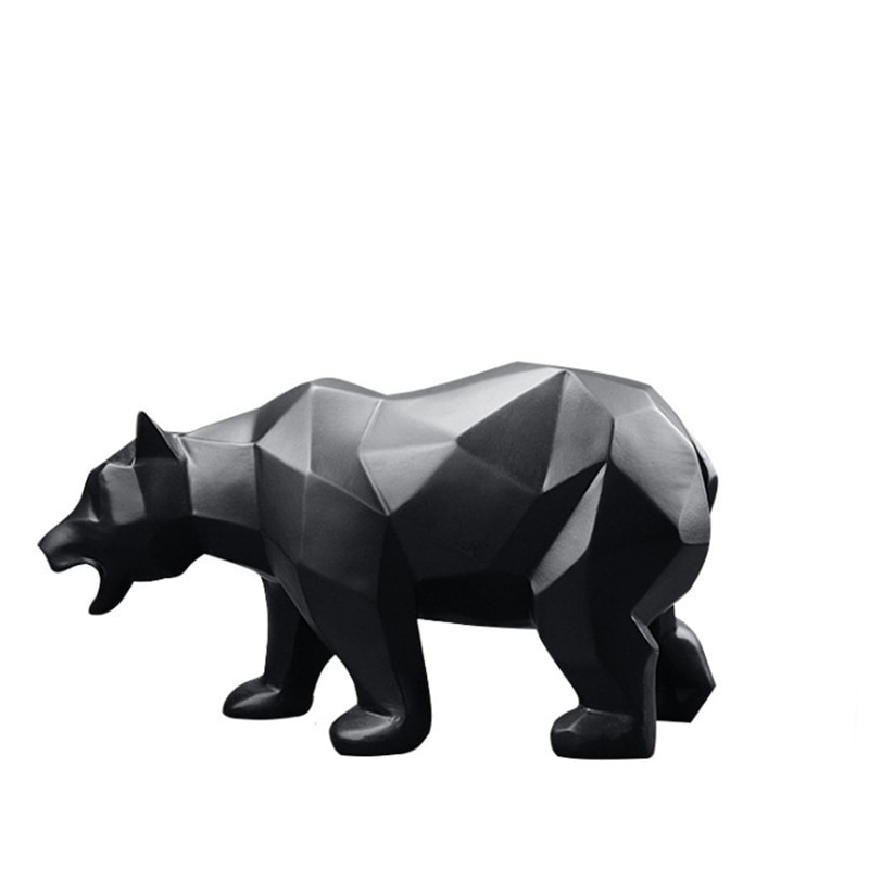 Urso preto estátua geométrica vida selvagem masculino urso decoração resina escultura de escritório em casa estátuas animais artesanato ornamento presente