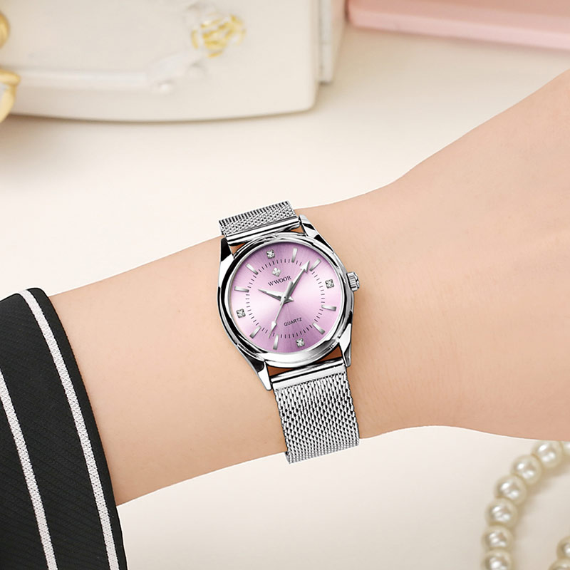 reloj mujer WWOOR Women Watches Luxury Diamond Silver Pink Ladies Bracelet Wrist Watch Highend Fashion Classic Dress Watch Women enlarge