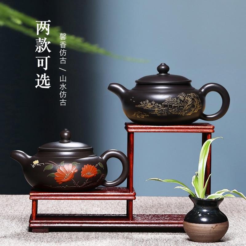 ييشينغ الأرجواني الطين إبريق نقية اليدوية الطين الأسود العتيقة المنزلية الكونغ فو إبريق الشاي إبريق الشاي طقم شاي