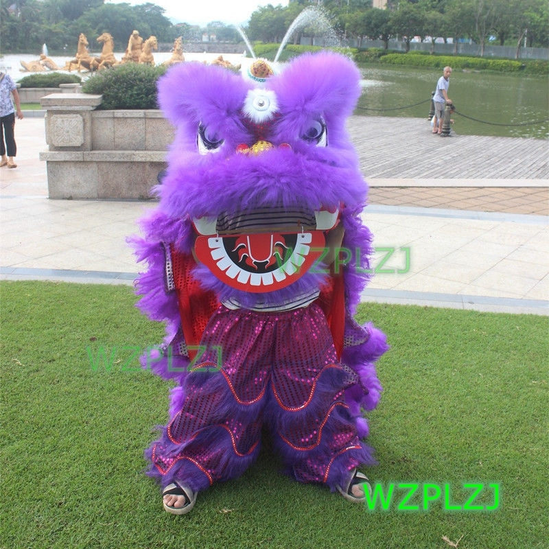 Purple 14inch Lion Dance Costume Royal  5-12 Age kid Children Props Stage Halloween  Outdoor Party Activities  Festival Parade