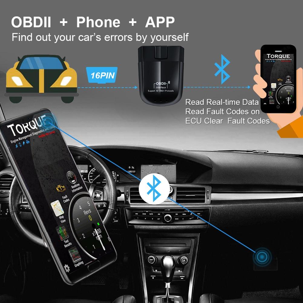 Новый Bluetooth OBD2 сканер ELM327 OBD2 код инструмента считывания данных автомобильного двигателя проверки светильник диагностический инструмент ко...