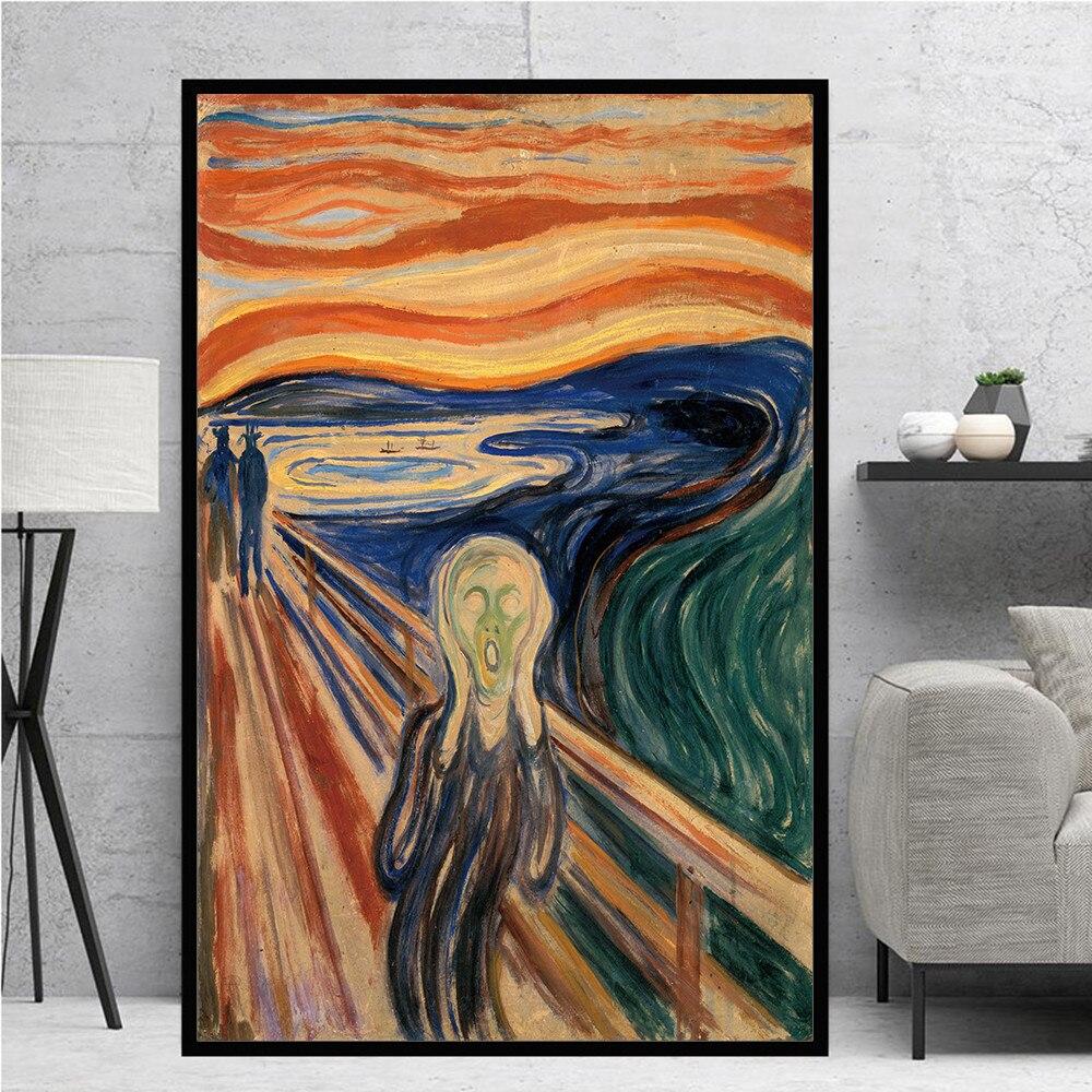 Pintura al óleo abstracta clásica sobre lienzo de Edward Munch Scream, pósteres e impresiones artísticos, cuadro de pared para sala de estar, Cuadros de decoración