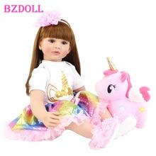 60Cm Big Size Reborn Toddler Doll Toy Lifelike Vinyl Princess Baby With Unicorn Cloth Body Alive Beb