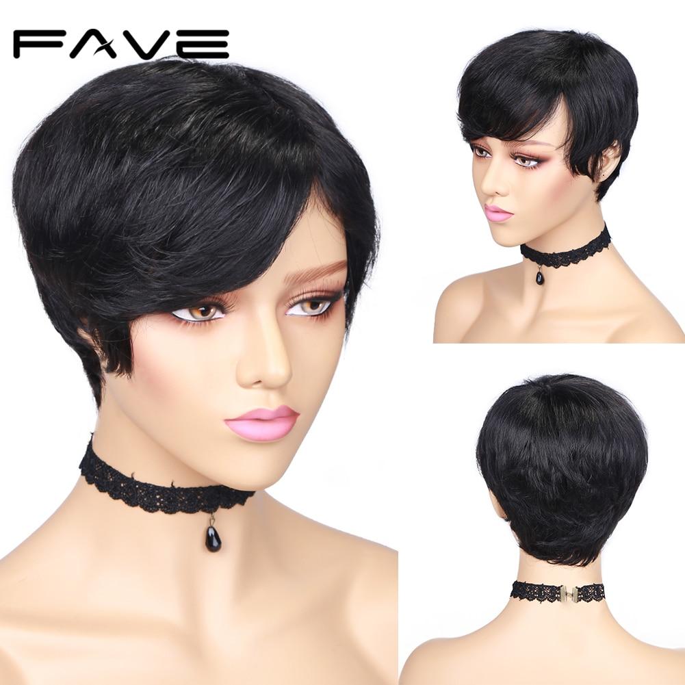 FAVE, peluca de cabello humano Remy corto brasileño, peluca humana recta, Color negro Natural para mujeres blancas/negras, pelucas elegantes