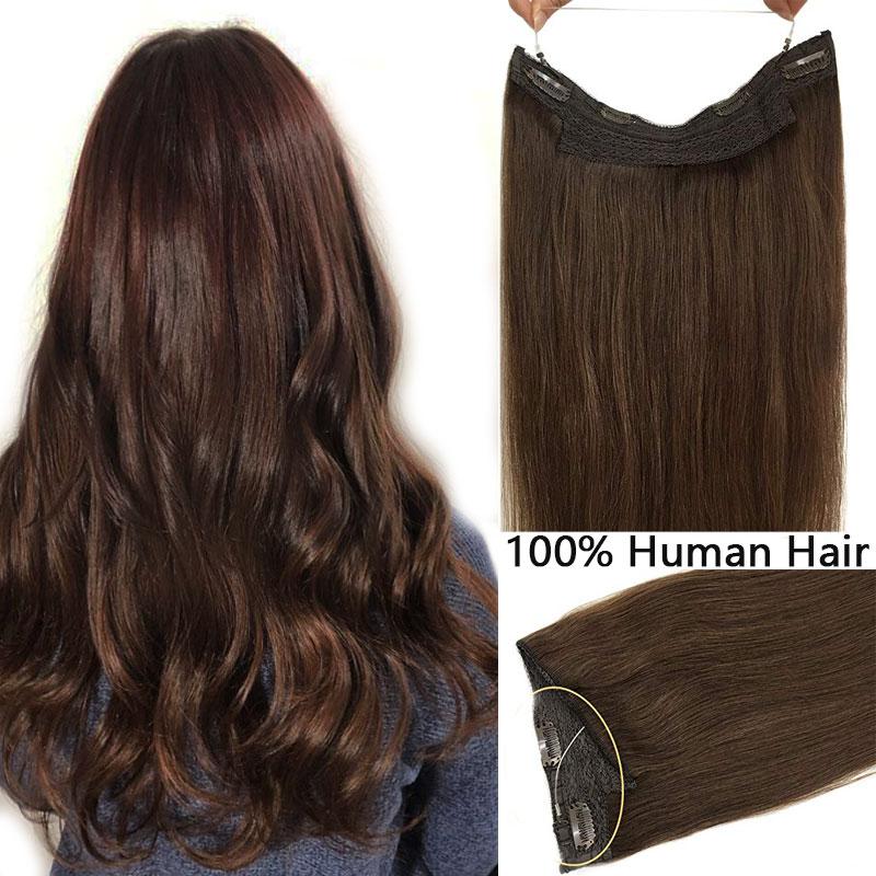 Extensões de cabelo de auréola reta ombre invisível cabelo humano remy extensões de cabelo natural aleta escondida segredo fio coroa parte do cabelo
