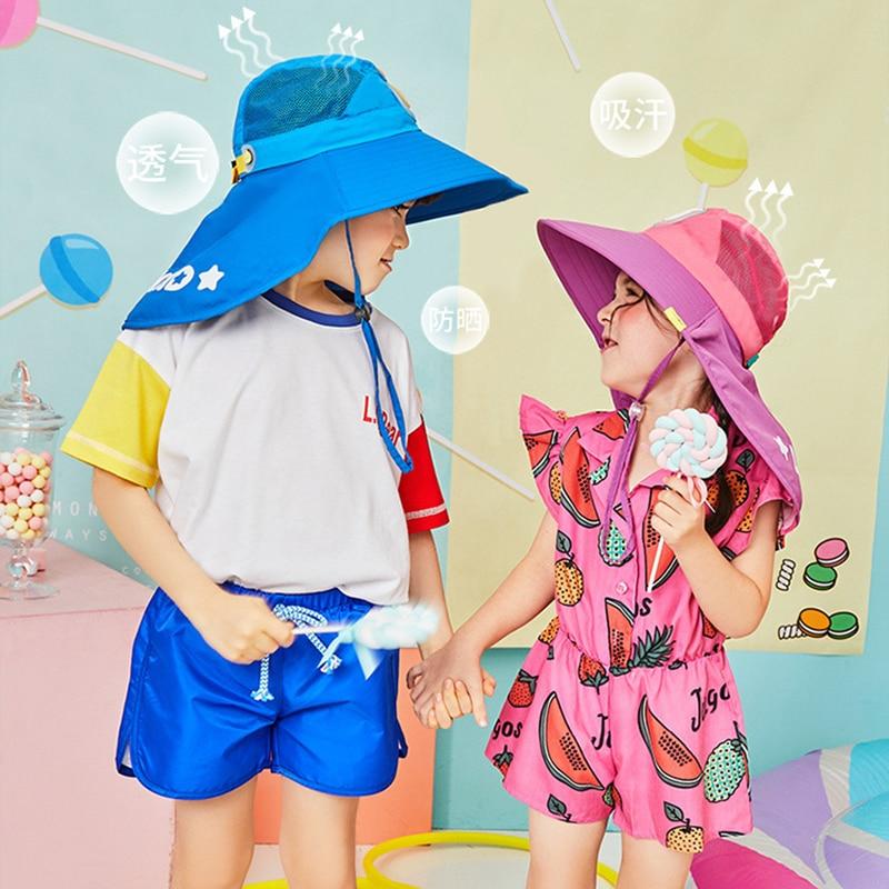 Wide Brim Children Sun Hat Kids Bucket Cap Summer Beach Girls Travel Outdoor Fashion Cute Dinosaur Boy Casual Sun Hats