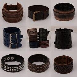 Punk pulseira pulseira para homens mulheres retro vintage couro genuíno banda larga pulseiras ajustável moda jóias unisex
