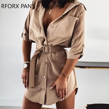 Women Belt Pocket Design Shirt  Mini  Dress Elegant Sexy  Office Lady Dress