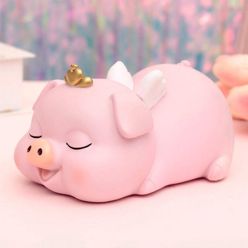 Rosa porco moeda piggy banco berçário lembrança casa decoração não é fácil de ser quebrado presente único para meninas e meninos