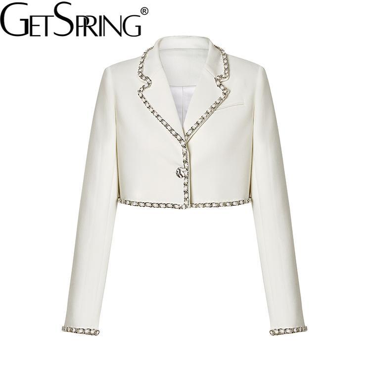 GetSpring المرأة السترة بدلة قصيرة السترة زر واحد أكمام طويلة للسيدات السترة معطف سلسلة عالية الخصر المرأة ضئيلة دعوى سترة