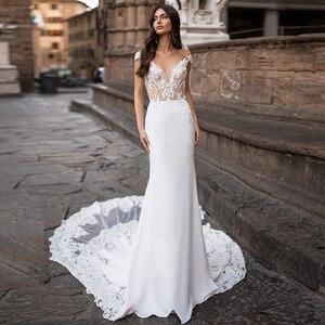 Charming Mermaid Wedding Dresses Sheer Neck Cap Sleeve Lace Appliques Button Satin Bridal Gown Sweep Train Vestidos De Noiva