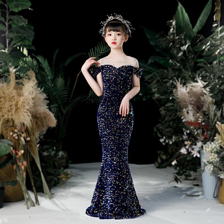 فستان سهرة من القماش الشبكي والترتر للأطفال ، فستان أميرة عالي الجودة ، مثير ، مع خياطة ، لحفلات أعياد الميلاد ، L555