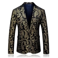 mens new cashew pattern casual wedding flower suit single coat mens fashion urban single breasted suit