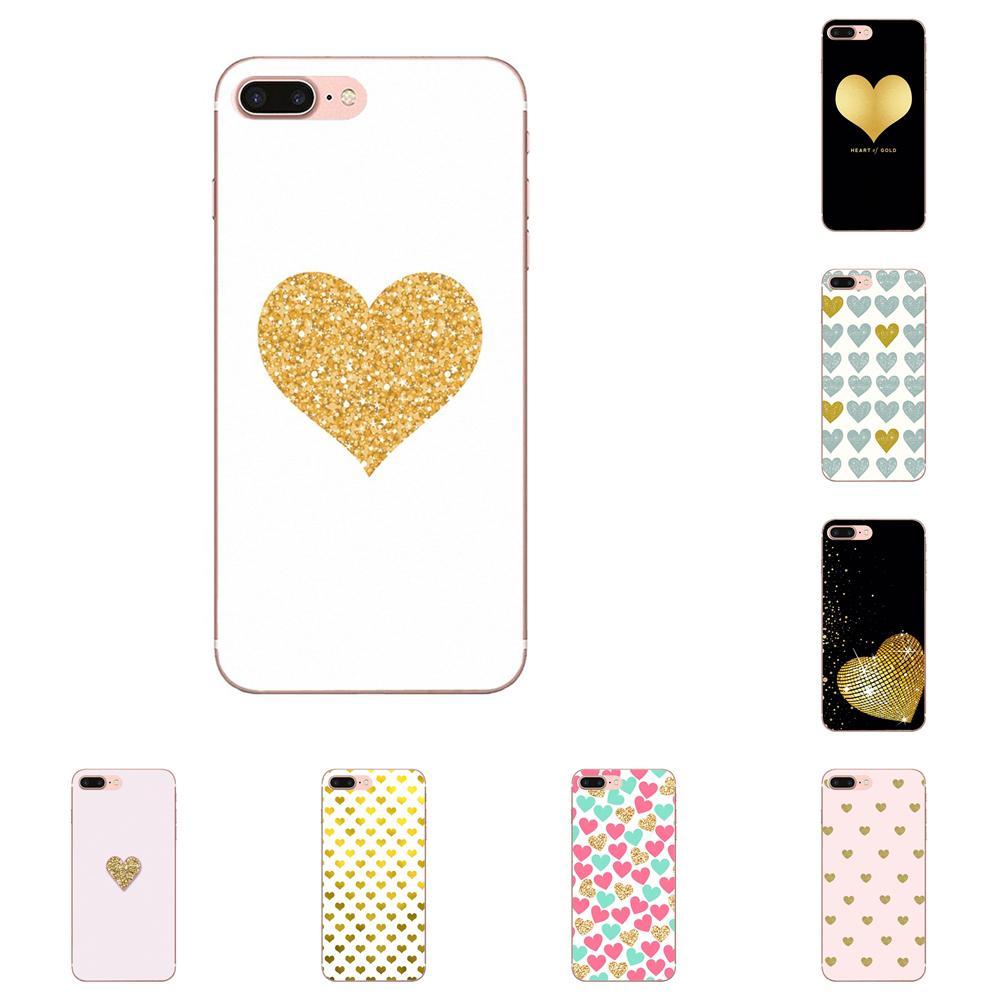 Teléfono de diseño suave para Huawei G7 Y6 II Y7, para Xiaomi Redmi Note 2 3 5 Mi 3 4 4C 4I 5S 5X 6X Pro, marca de lujo, Corazón dorado