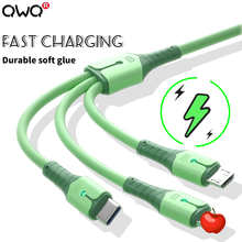 3 in 1 Liquid Silicone 5A Fast Charging Cable Type-C Micro USB For iPhone 12 Pro Max For Samsung A52 For Xiaomi Redmi Cable Wire