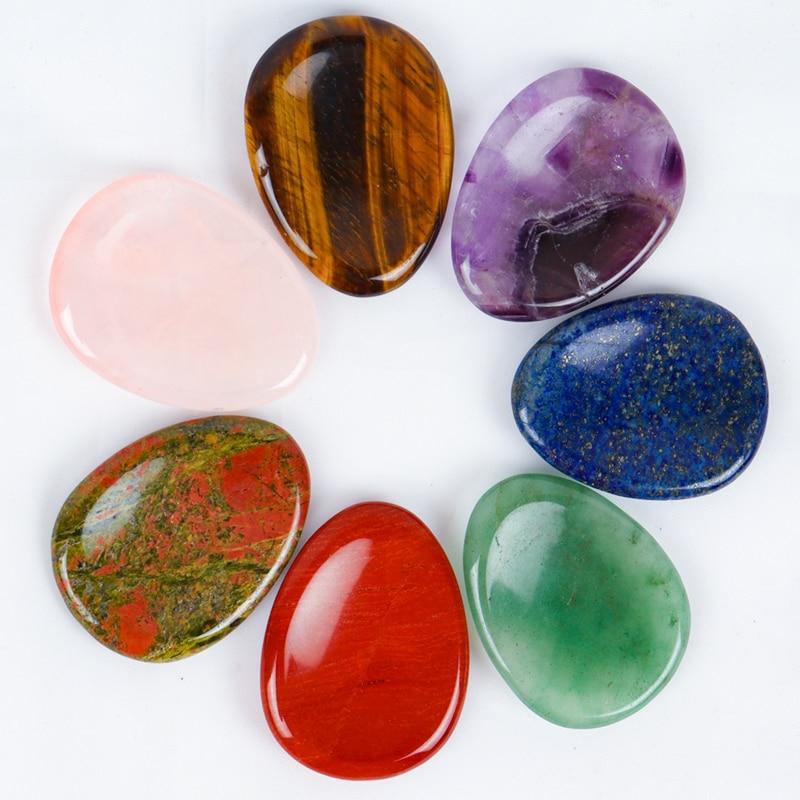 Face Gua Sha Tool Worry Thumb Stone Palm Gemstone Rose Quartz Hand Massage Skin Care Body Natural Cr