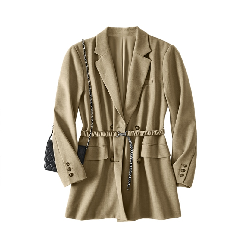 SHUCHAN Womens Blazer STREETWEAR Spring/Autumn Blazers Double Breasted Notched  Jackets for Women  Ladies Tops