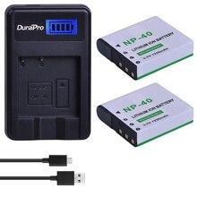 2 pièces NP-40 batterie de caméra Rechargeable NP 40 NP40 + chargeur USB pour Casio EX-Z30/Z40/Z50/Z55/Z57/Z750 EX-P505/P600/P700 PM200