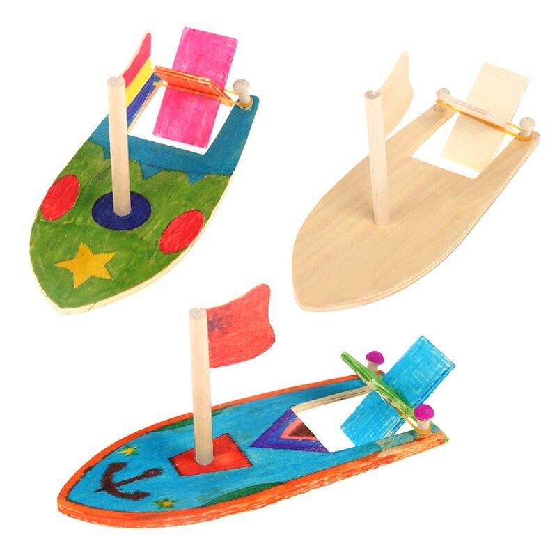 Деревянная миниатюрная парусная лодка, граффити, Набор для творчества, детская игрушка для детей, детская игрушка для детей 4 года