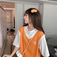 womens t shirts fake two piece little daisy print short sleeve t shirt basketball uniform student korean casual loose oversized