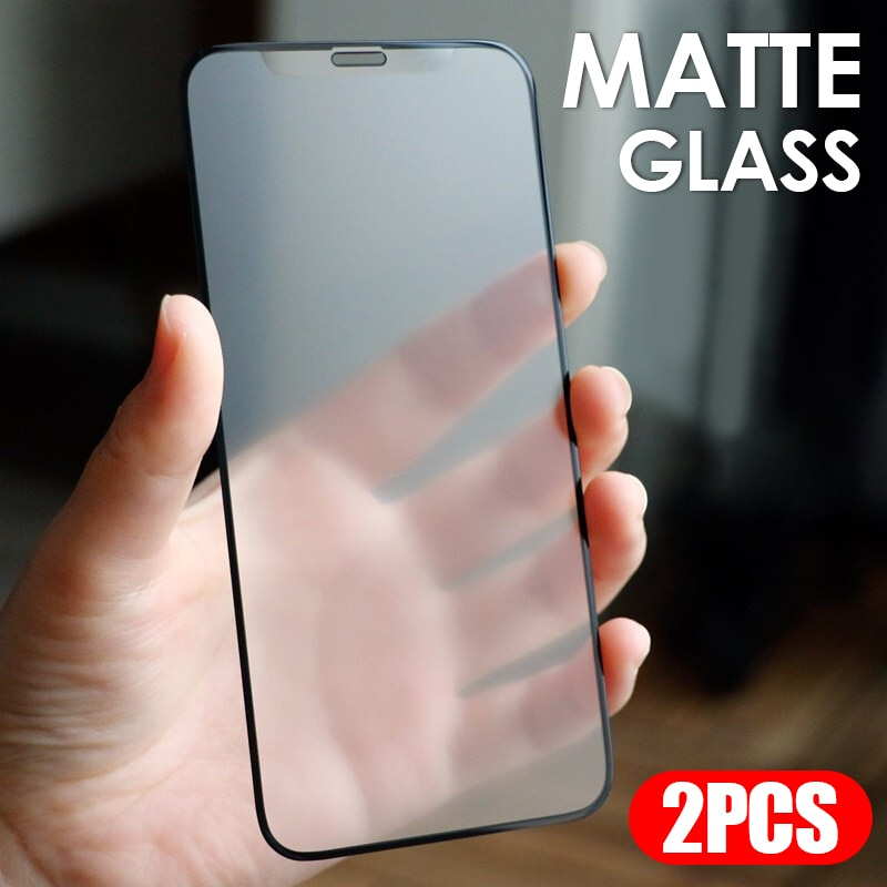 2pcs-matte-tempered-glass-for-iphone-11-12-xs-pro-max-and-iphone-x-xr-6s-7-8-plus-no-fingerprint-frosted-glass-screen-protectors