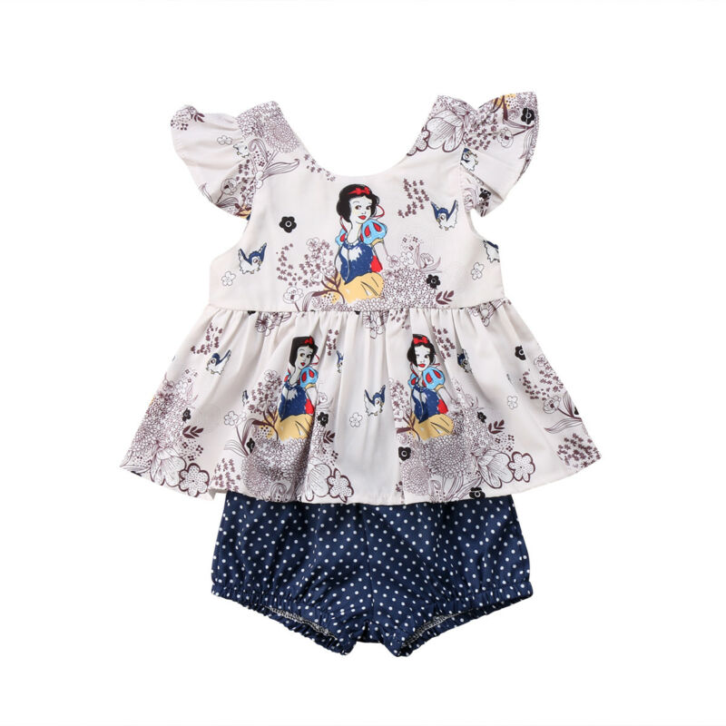 2020 Cute Snow White Baby Girls fly sleeve cartoon Tops T shirt Dress blue polka dot Briefs Shorts 2pcs summer Outfit Set