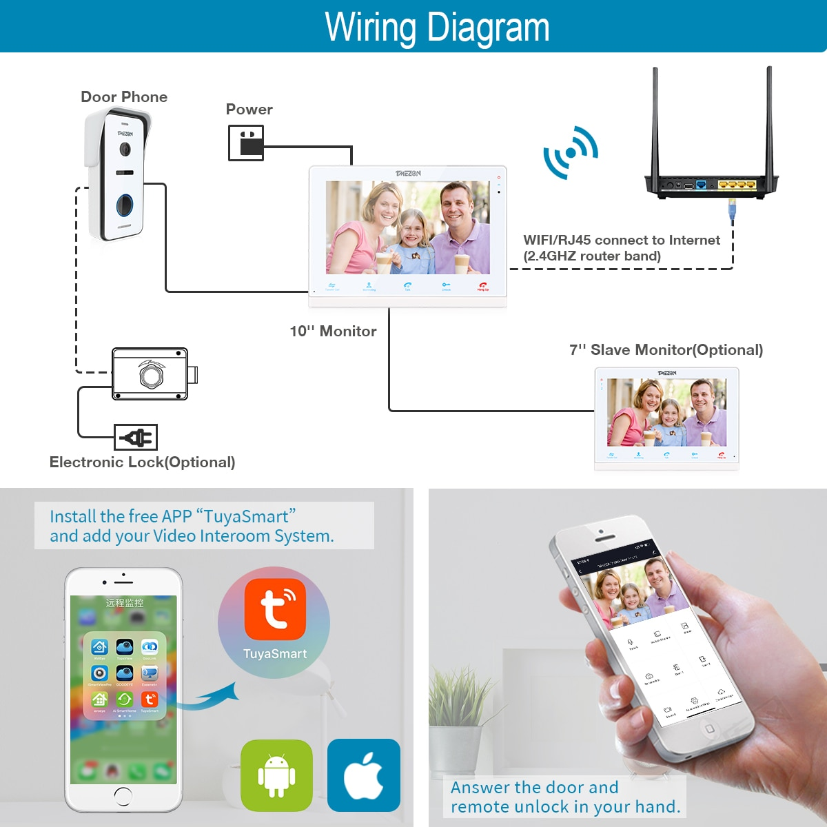 TMEZON Wireless Video Door Phone Doorbell Intercom System, 10 Inch Wifi Monitor with 1x720P Wired Outdoor Camera For 1-Family enlarge