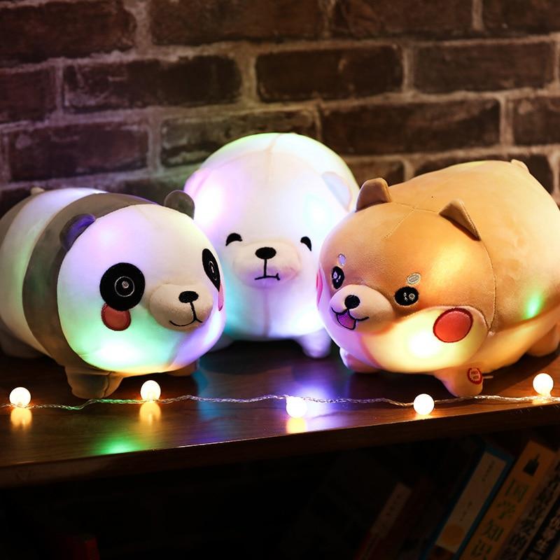 Cute Shiba Inu Soft Stuffed Toys Kawaii Cartoon Bear Plush Dolls Will Shine Animal Pillows Home Decorations Xmas Gift for Girls