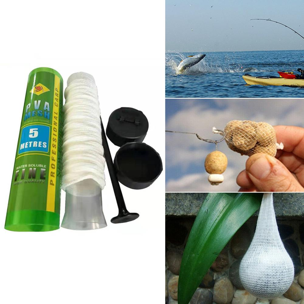 1PCS 5M Water Dissolving PVA Narrow Mesh Tube Net Carp Fishing Feeder Lures Refill Plunger Bar Tackle Carp Fishing Feeder