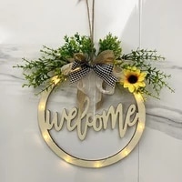 spot welcome wooden card easter decoration home decoration door pendant with light hollow welcome wreath